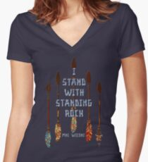 I Standing with Standing Rock - MNI WICONI Women's Fitted V-Neck T-Shirt