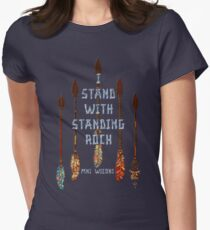 I Standing with Standing Rock - MNI WICONI Women's Fitted T-Shirt