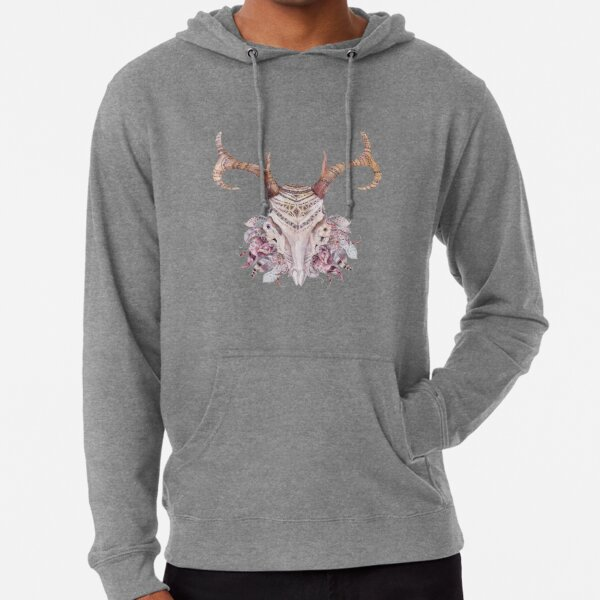 Deer skull with feathers Sudadera ligera con capucha