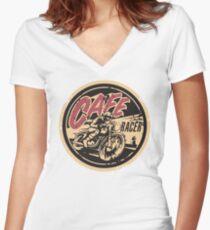 The Official Cafe Racer TV Logo Women's Fitted V-Neck T-Shirt