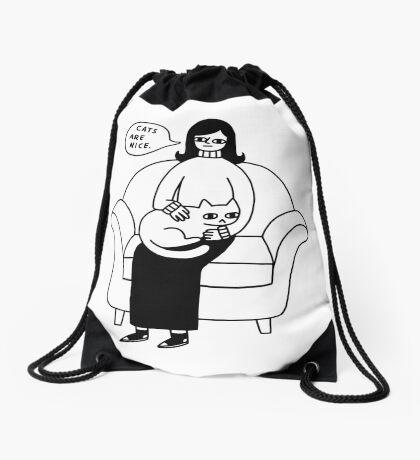 Cats Are Nice. Drawstring Bag