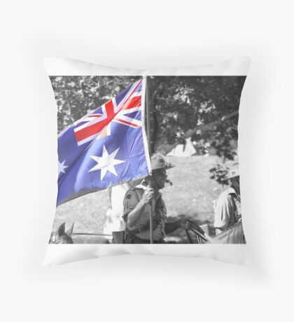 LightHorse Carrying flag- B and W with color Throw Pillow