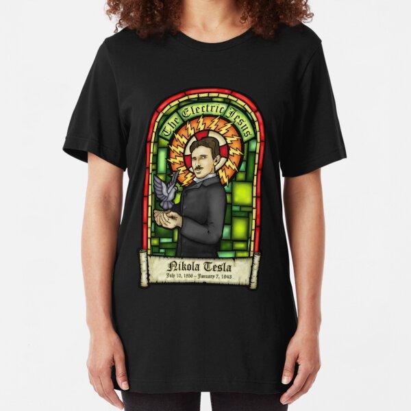 Tesla: The Electric Jesus Slim Fit T-Shirt