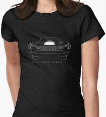 1970 Ford Mustang Mach 1 - front Stencil, white Womens Fitted T-Shirt