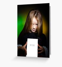 Cute little girl with long hair showing book, on colorful background Greeting Card