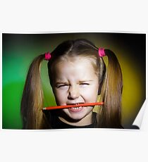 Cute little girl with colorful pencils, on yellow-green background Poster