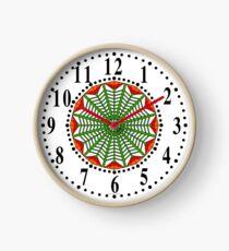 Harmonious Two Tone Red Flowers Clock
