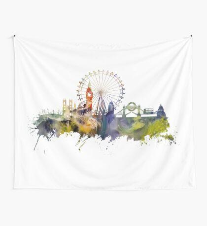 London skyline colored London Eye Wall Tapestry