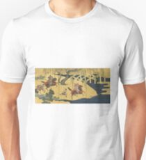 Tosa School - Folding Screen With Design Of The Battle At Uji River. Forest view: forest , horses,  samurai, exploit, warrior, river, bridge, horseman, hunting,  tradition,  sport Unisex T-Shirt