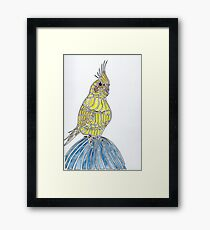 Lutino Cockatiel On Denim Knee Framed Print