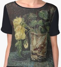 Vincent Van Gogh - Glass With Yellow Roses. Still life with flowers: flowers, blossom, nature, botanical, floral flora, wonderful flower, plants, cute plant for kitchen interior, garden, vase Women's Chiffon Top