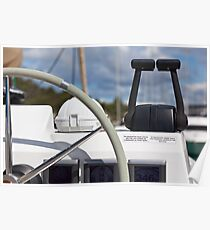 Sailing yacht control wheel and implement Poster