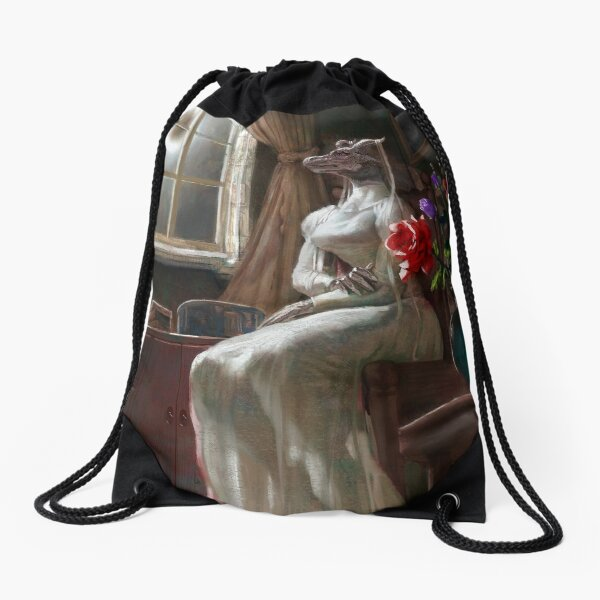 Twin Under the Eclipse Drawstring Bag