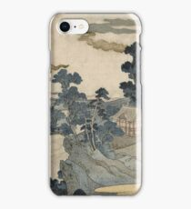 Utagawa Kuniyoshi - Fuji No Yukei (An Evening View Of Fuji). Country landscape: village view, country, buildings, house, rustic, farm, field, countryside road, trees, garden, flowers iPhone Case/Skin