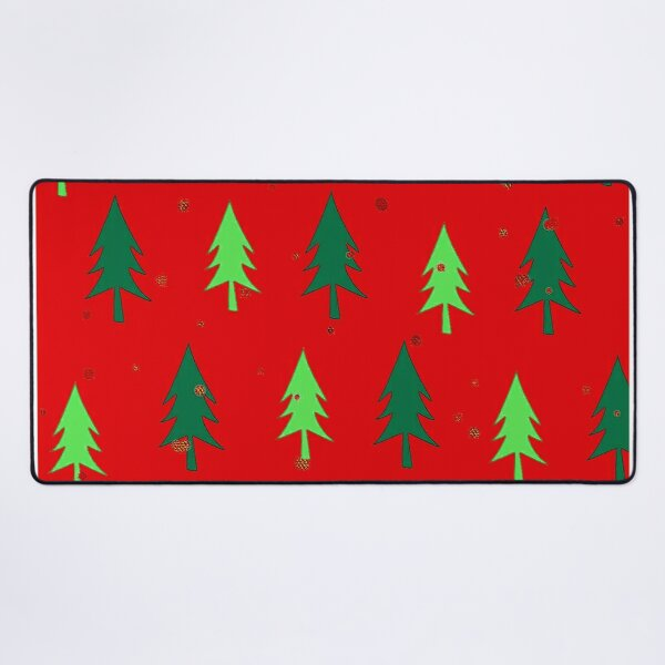Christmas Trees Contemporary Modern Pattern On Red Desk Mat