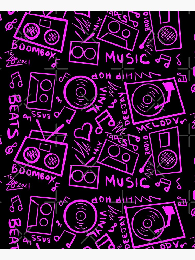 Pink Music Hand Drawn Graffiti Hip Hop Pattern by that5280lady