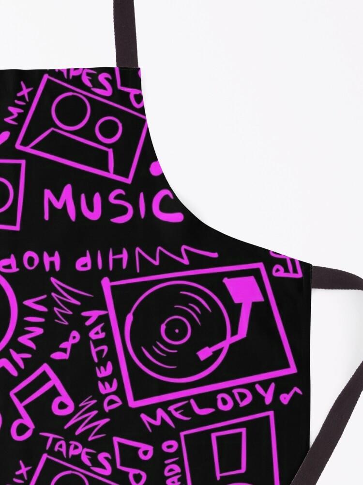 Alternate view of Pink Music Hand Drawn Graffiti Hip Hop Pattern Apron