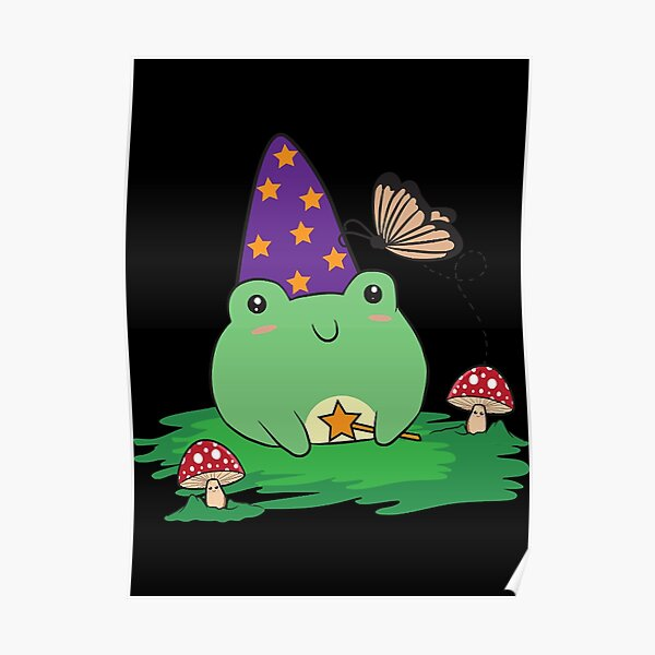 Cottagecore Aesthetic Cute Kawaii Frog Wizard Hat   Poster