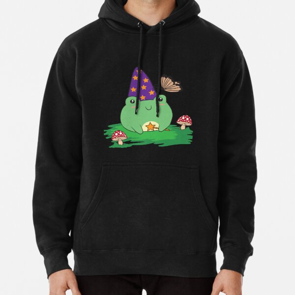 Cottagecore Aesthetic Cute Kawaii Frog Wizard Hat   Pullover Hoodie
