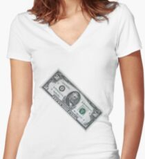 fifty dollar banknote on white background Women's Fitted V-Neck T-Shirt