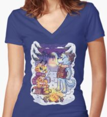 Goldwood Chronicles: Mia and Heidy Winter  Women's Fitted V-Neck T-Shirt