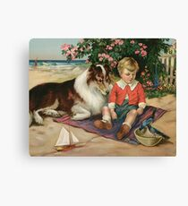 Vintage Art, Boy with Collie Canvas Print