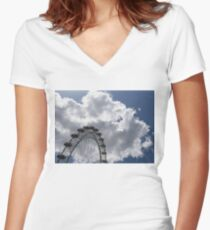 Color Coordinated Skyward View - the London Eye Against Dramatic Sky Women's Fitted V-Neck T-Shirt