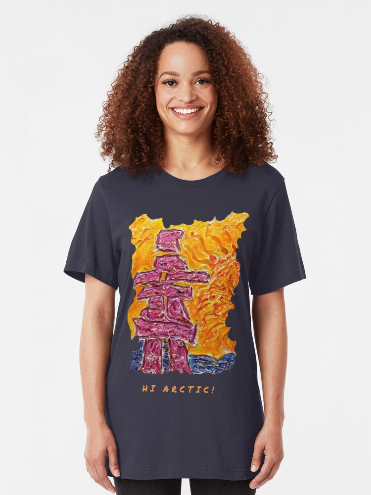 Alternate view of NORTHERN ART INUKSHUK NORTHERN SUNSET, FUNNY QUOTE HI ARCTIC Slim Fit T-Shirt