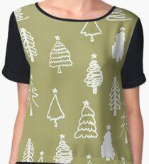 Decorative winter seamless pattern with christmas tree. Christmas background. Chiffon Top