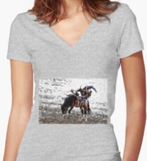 The Dismount  -  Rodeo Cowboy Women's Fitted V-Neck T-Shirt