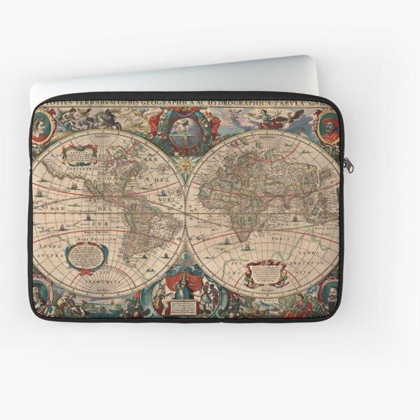 Mapa vintage del mundo (1641) Funda para portátil