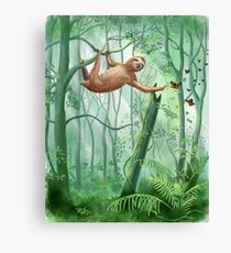 Sweet Sloth and Butterflies Canvas Print
