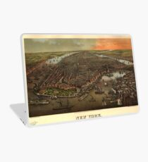 Vinilo para portátil Vintage Pictorial Map of New York City (1873)