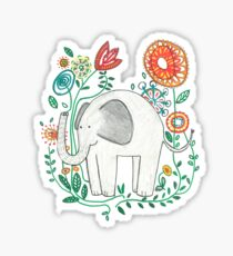 Elephant Among Flowers Sticker