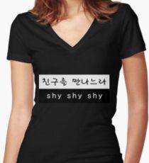 TWICE Sana Cheer Up Shy Shy Shy Lyrics Hangul Women's Fitted V-Neck T-Shirt