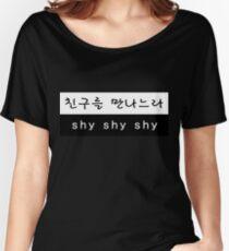 Camiseta ancha para mujer TWICE Sana Cheer Up Shy Shy Shy letra en español Hangul