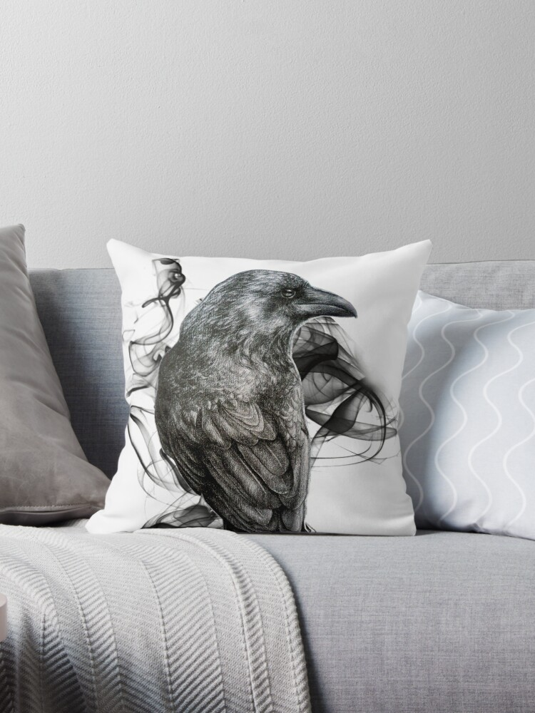pillow drawing realistic. crow gothic bird raven realism drawing sketch tattoo. throw pillows pillow realistic