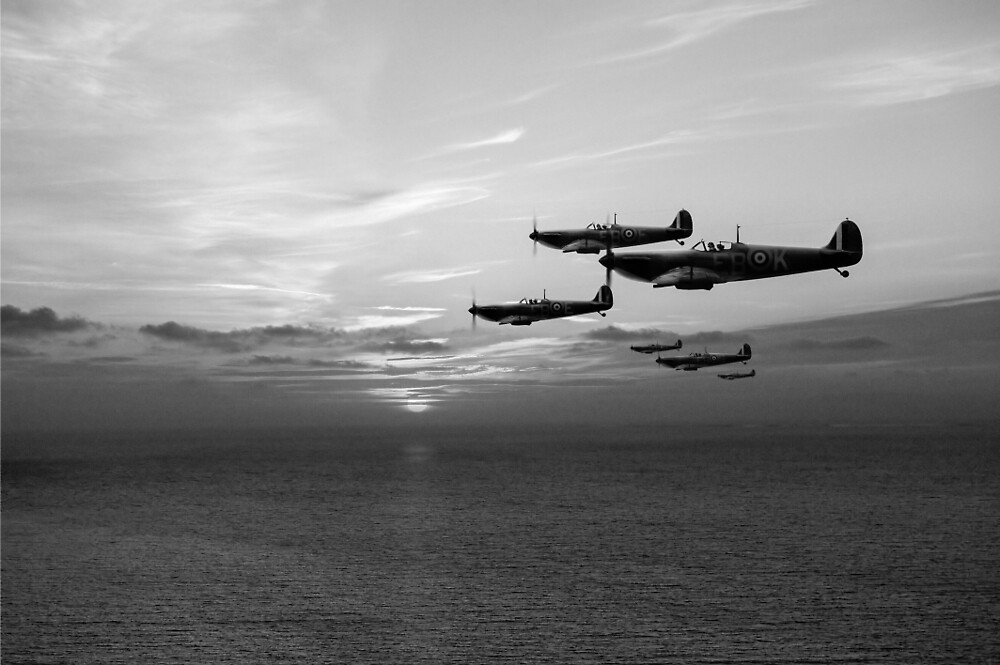 Sunset sentinels: Spitfires over the English Channel black and white version by Gary Eason