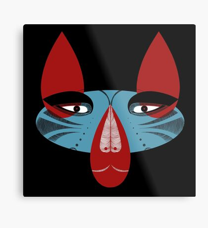 Coyote the Trickster in red, black and white Metal Print