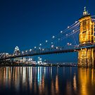 Roebling Bridge and Cincinnati Skyline at dusk by Sven Brogren
