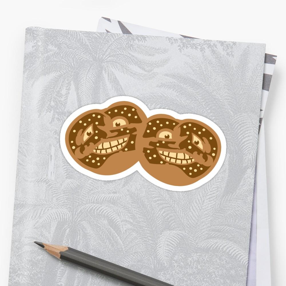 2 friends team face funny horror monster comic cartoon pretzel food hunger yummy oktoberfest logo symbol cool design by Motiv-Lady