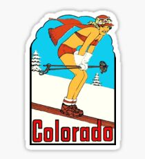 Colorado Skiing Pinup Vintage Travel Decal Sticker