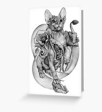 RISHAMA steampunk tattoo cat kitten biomechanics mechanics vintage Greeting Card