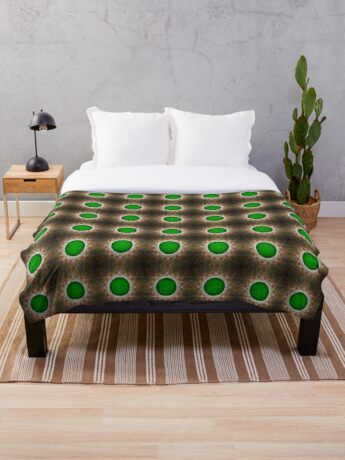 Green Button Planet Throw Blanket