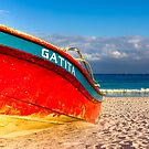 Vivid Red Boat On A Caribbean Beach - Playa del Carmen by Mark Tisdale