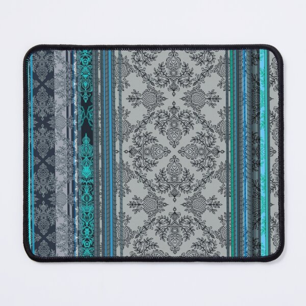 Teal, Aqua & Grey Vintage Bohemian Wallpaper Mouse Pad