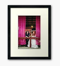 Happy young married couple, smiling Framed Print
