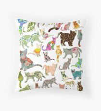 a lot of cats in vintage wallpaper Throw Pillow
