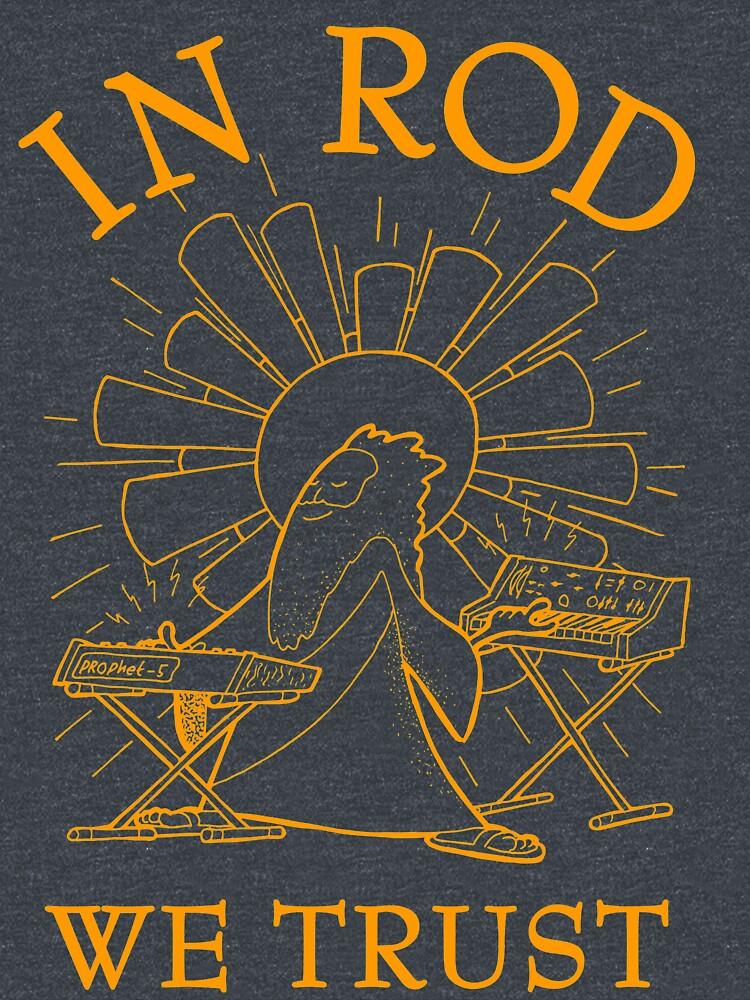 Rodney Cromwell 'In Rod We Trust' Orange Text by happyrobots