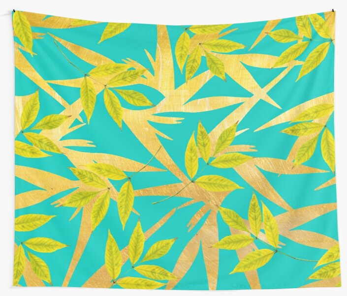 Gold & Teal Florals #redbubble #lifestyle by 83oranges